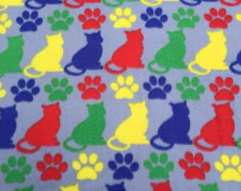 Colorful Cat Fleece, Sold by the Yard, 1 Yard