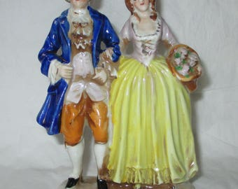"""6"""" Occupied Japan COURTING COUPLE Porcelain Figurine 1945-1952"""