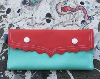 Monster Clutch - Apricot Rose and Seafoam