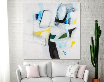 ABSTRACT PAINTING Original Large canvas art White painting with blue and yellow geometric Wall Art 36x36 by DUEALBERI