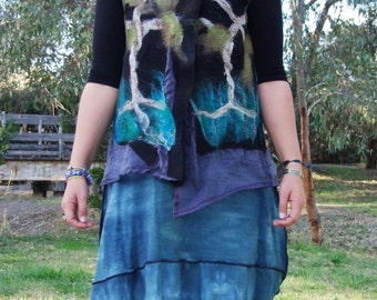 Organza Silk and Nuno Felt Wrap Vest Forest Tree Organic Natural wearable Art