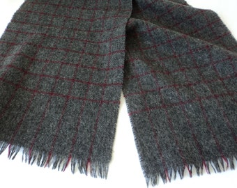 French vintage grey and red plaid pure wool scarf (06165)
