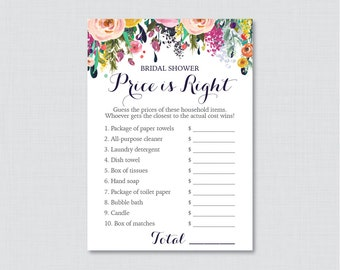 Floral Bridal Shower Price is Right Game - Printable Colorful Flowers Bridal Shower Price is Right - Shabby Chic Garden Bridal Shower 0002-B