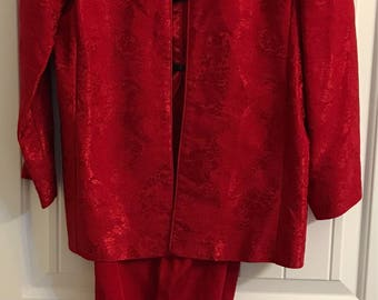 1980's Vintage Red Maren Petite Asian Inspired Pant Suit
