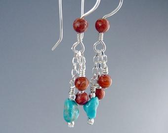 Kingman Turquoise Drop Earrings, Southwest Jewelry, December Birthstone, Western Earrings, Western Jewelry, Jewelry Gift Under 50