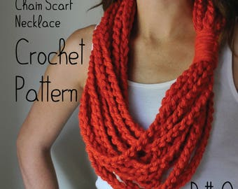 PATTERN Chain Scarf Necklace // Crochet PATTERN // Scarf Gift // Scarf PATTERN Instructions // Crochet Scarf Tutorial // Chain Scarf Pattern