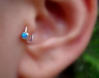 Tragus Earring - Opal Tragus Earring - Cartilage Earring - Nose Ring Hoop - Sterling Silver  3mm Blue Opal - 7mm Inner Diameter Tragus Hoop