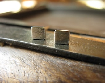 Tiny Square Stud Earrings Sterling Silver