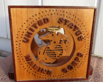 Vintage United States Marine Corps Wooden Napkin Holder Signed Merle Eystad USMC Semper Fidelis Wood Carving Scroll Saw Woodwork Folk Art