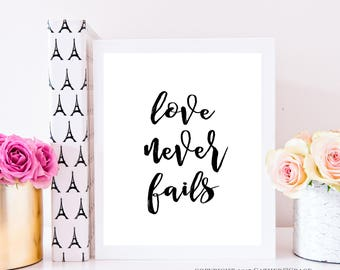 Love Never Fails, instant download, quote print, wall art, instant download, black and white print, home decor, gift for her, office decor