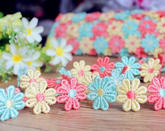 2yards Floral Lace Trim Daisy Flower Lace 25mm Embroidered Lace Daisy Trim Ribbon Sewing Crafts r58a
