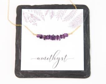 Raw Amethyst Gem Bar Necklace, February Birthstone Gift Jewelry, Ultra Violet Gift, Semi-Precious Stone, Best Friend Gift, Healing Jewelry