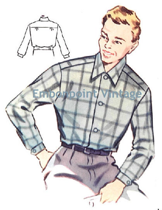 Men's Vintage Reproduction Sewing Patterns Plus Size 1950s Mens Shirt Pattern - PDF - Pattern No 183 DennisPlus Size (or any size) Vintage 1950s Mens Shirt Pattern - PDF - Pattern No 183 Dennis $4.97 AT vintagedancer.com