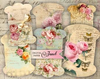 ribbon spools vintage - digital collage sheet - set of 2 sheet - Printable Download