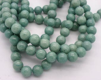 50 beads of jade 8 mm round khaki olive green jade
