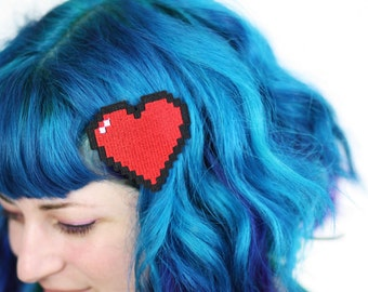 Pixel Heart Hair Clip, Retro Gaming Barrette, Red and Other Colour Choices