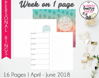 Week on 1 Page Apr - Jun '18 | Personal Rings | Digital Download | Ringbound Binder | April May June 2018 WO1P