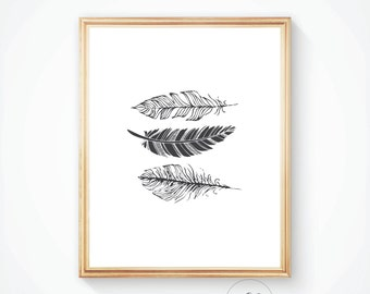 Feather print, printable art, art prints, black feather print, black feathers. Digital print, home decor. Feather wall art, feather decor