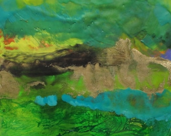 Abstract Encaustic painting, abstract landscape painting, abstract painting, emerald green landscape