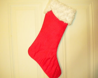 Christmas Stocking in Red Brocade with Fur Cuff