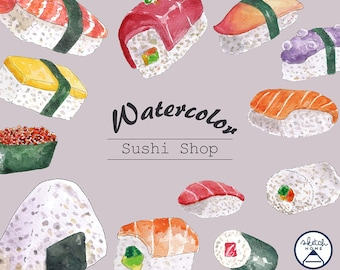 Sushi Set sashimi and sushi rolls Watercolor Clipart