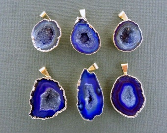 Purple Agate Druzy Geode Pendant Dipped in a Layer of Electroplated 24k Gold High Quality DSA (S19B6-02)