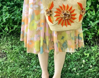 Straw Floral Embroidered Bag