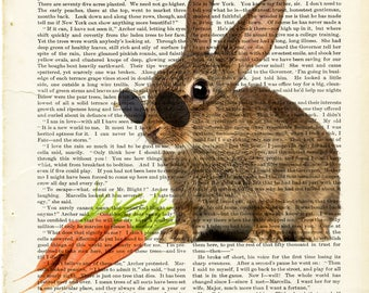 Rabbit with carrots poster, steampunk rabbit poster, rabbit poster, carrots poster