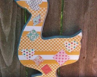 Sale. Up-cycled duck. Easter duck. Vintage duck. Nursery decor. Easter decor. Yellow wooden duck. Easter. Patchwork duck.