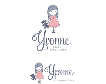 Premade Girl Logo Package, Premade girl logo design, toy logo, bear logo, Kids business logo, Child Boutique logo, Doll logo and watermark