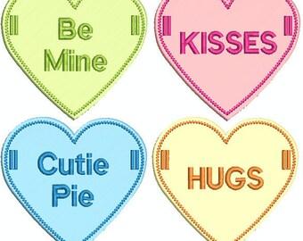 Embroidered Conversation Heart In the Hoop Banner Designs - 9 designs + instructions! (w/  bonus design!)