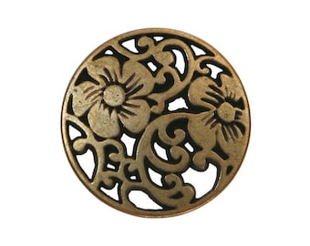 4 Vine Flower 3/4 inch ( 19 mm ) Metal Buttons Brass Color