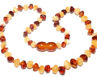 Genuine Baltic Amber Baby Teething Necklace Butter / Cognac