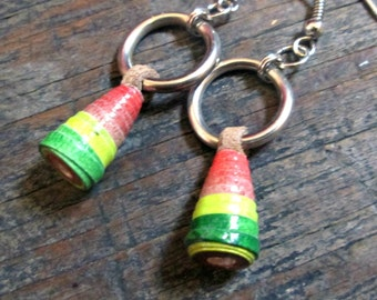 Tribal Paper Bead Earrings, Bohemian earrings, Ethnic Jewelry, Hippie Gypsy Earrings, Tribal Fusion Jewelry, Eco-friendly Jewelry, Hippie