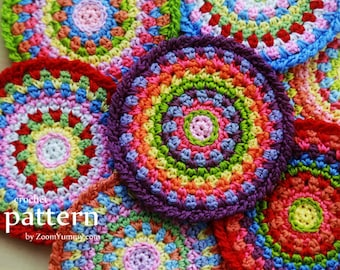 Crochet Pattern - Colorful Mosaic Coasters - (Pattern No. 068) - INSTANT DIGITAL DOWNLOAD