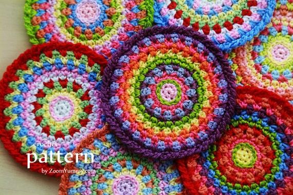 Crochet Pattern Colorful Mosaic Coasters Pattern No 068