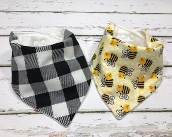 Organic Baby bib baby shower Gift Bandana bib Bee Bib Drool bib black and white baby bib bumblebee bib buffalo plaid baby bib neutral bib