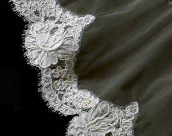 "AUTHENTIC FRENCH ALENÇON Lace Sample - White ""Old Rose Pattern Motif"""