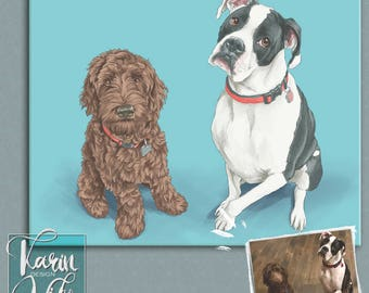 Pet portrait. Detailed Pet Portraits. Custom portrait from photo. Custom drawing. Animals. Gift for.