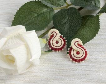Soutache stud earrings, small everyday earrings, creamy red earrings, handmade jewelry, tiny earrings little simple earrings