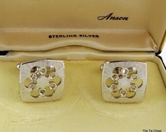 Vintage Sterling Silver Cufflinks Floral Anson