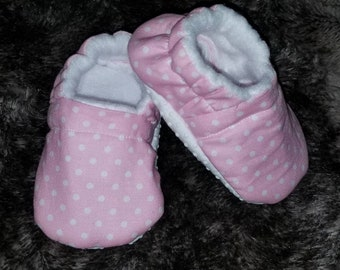 Baby Pink and White Polka Dot Soft Sole Shoes - Moccasins - Moccs - Spring Shoes - gift - baby shower - newborn booties