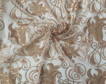 Liquidation-Beaded Lace, Sequin mesh, Sequins Fabric, Lace Fabric, Gold Beaded Lace, Gold Lace Fabric (C6)