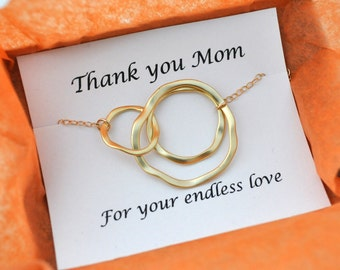 gift for mom, mothers day gift, Triple Rings, Three Ring Necklace, Gold Linked Circles, Past Present Future, simple, modern, gold filled