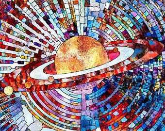 Planet Stained Glass Abstract Mosaic Science Postcard Poster Art Print Q08