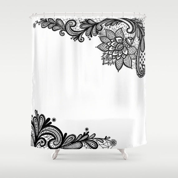 White Black Shower Curtain, Black Lace Print Bathroom Decor, Modern Home Decor, Feminine Shower Curtain, Sexy, Wedding Gift, Dorm, Trend