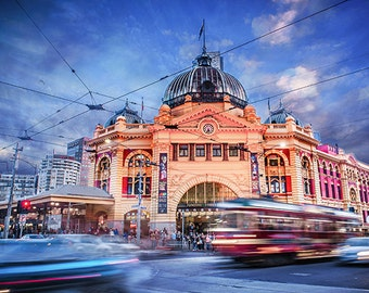 Melbourne Lounge Decor Fine Art Photography Flinders Street Station Tram Prints Special Gift for Her Wall Travel Gift FREE POST AUSTRALIA