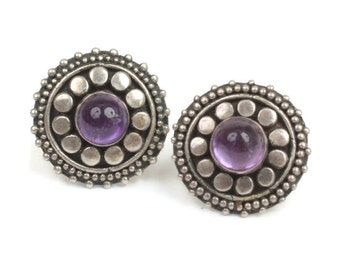 Amethyst and Sterling Post Earrings Raised Dot Detail Smaller Vintage Pierced Ears