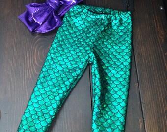 Emerald Mermaid Leggings with Purple headwrap - baby toddler child fish scale leggings