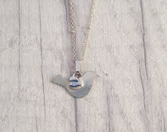 Silver | bird | dove | pendant | necklace | for her | handmade | birthday | love